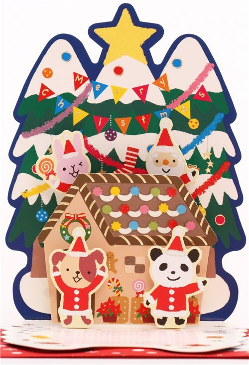 cute Santa Claus Christmas tree ginger bread house glitter letter pop-up card
