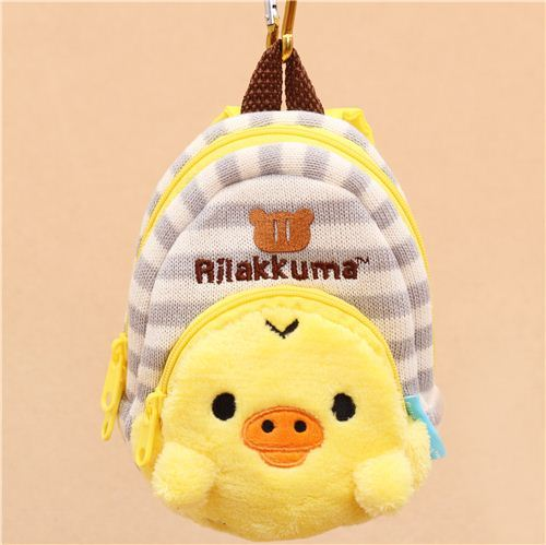 big grey white striped Rilakkuma yellow chick backpack charm