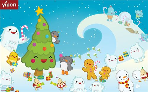 super kawaii yipori Christmas wallpaper