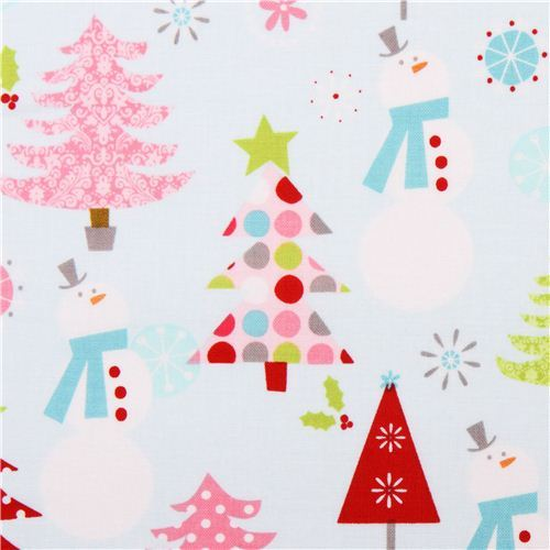 blue Christmas Basics Riley Blake Xmas fabric snowman