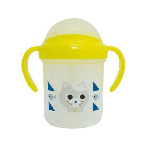 cute yellow cat straw plastic mug
