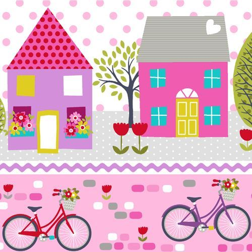 stripe pink purple bicycle house tree fabric by StudioE 'Around Town'