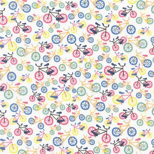 white small colorful bicycle fabric by Timeless Treasures