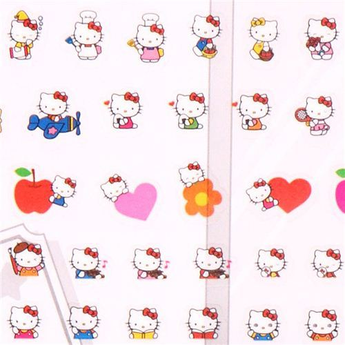 Hello Kitty cat apple flower calendar stickers from Japan