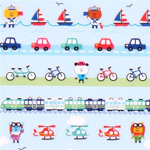 car train ship bike airplane calendar stickers from Japan