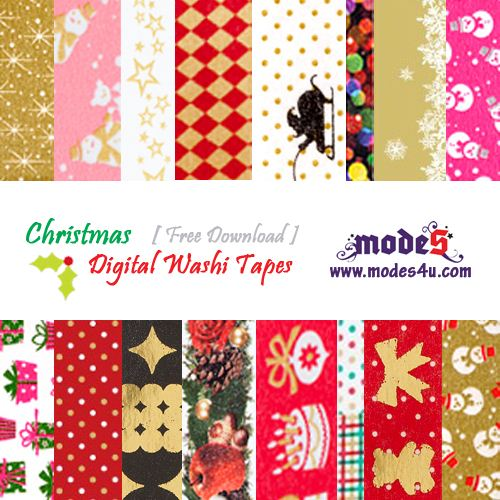 Click on this picture to download our second edition of free digital Christmas Washi Tapes