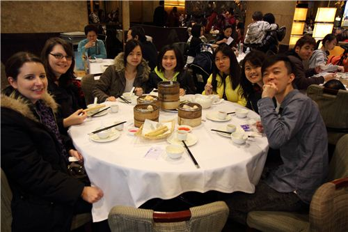 Our table in the Chinese restaurant for Dim Sum