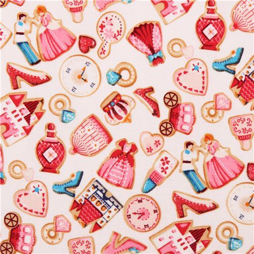 cream glitter Cinderella fairy tale castle shoe ring fabric by Kokka