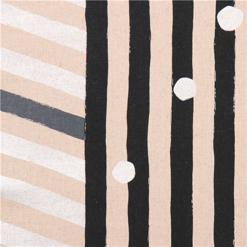 echino natural color canvas laminate fabric black silver stripe dots from Japan
