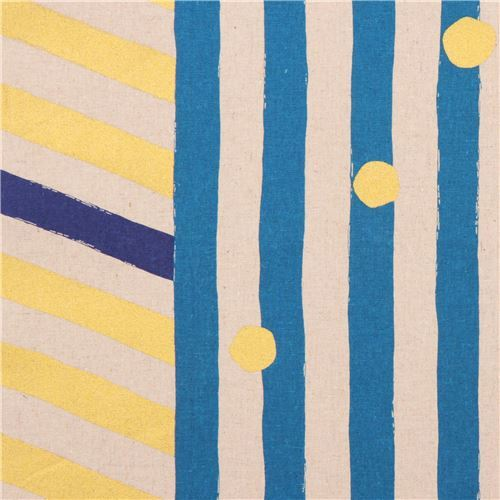 echino natural color canvas laminate fabric blue gold stripe dots from Japan