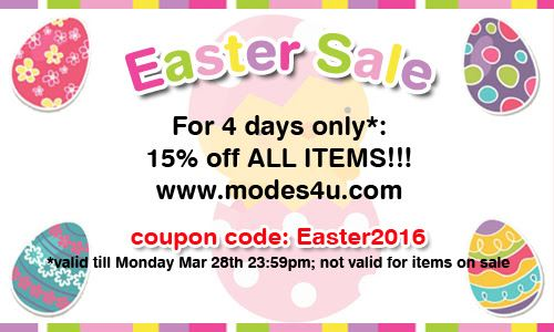 Easter Sale 2016! 15% off until next Monday, March 28th!