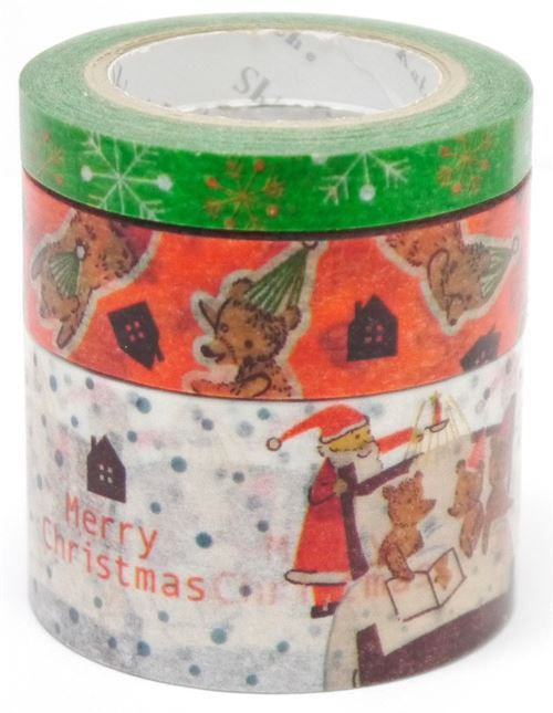Christmas bear Santa dot Washi Masking Tape deco tape set 3pcs Shinzi Katoh