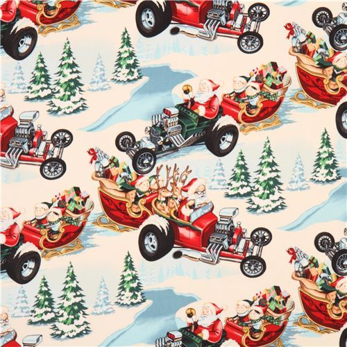 colorful Alexander Henry fabric Santa sleigh reindeer Hot Rod Holiday