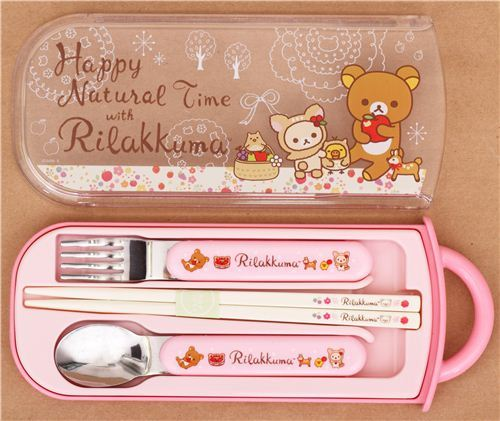 deer Rilakkuma bear apple Bento Cutlery Set