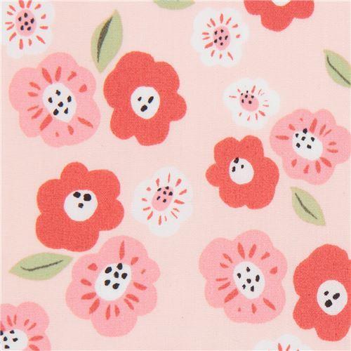 peach with flower poplin organic fabric monaluna USA