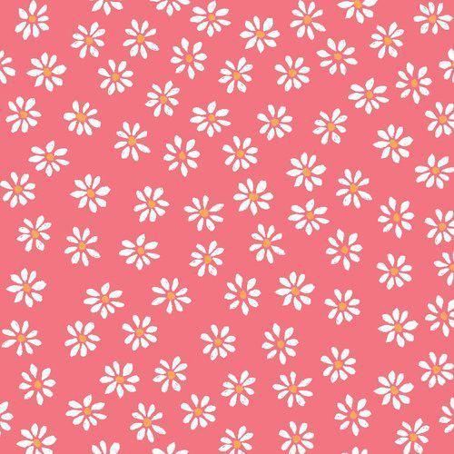 pink with white daisy flower poplin organic fabric monaluna USA