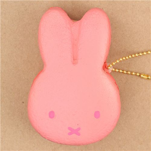 cute pink Miffy bunny rabbit ice cream sandwich squishy for backpack