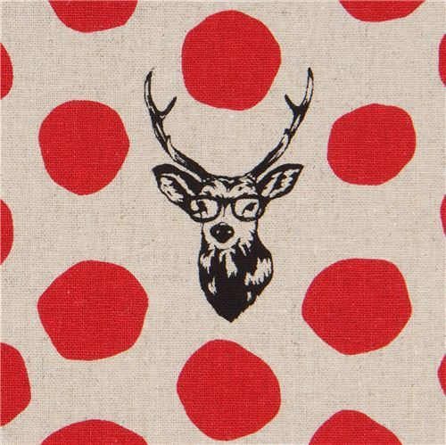 natural color echino canvas fabric stag with red dots Sambar