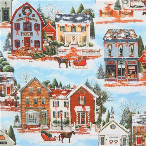 Robert Kaufman Christmas village fabric