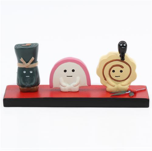 black and red board box with food figurine from Japan