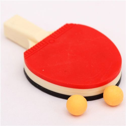 red-black table tennis racket eraser by Iwako from Japan