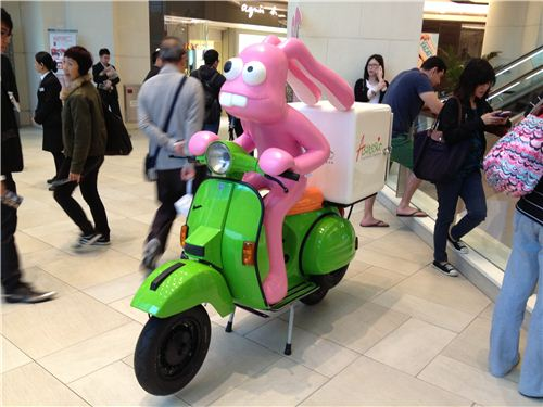 But there are also other parts of the exhibition like this funny bunny on a scooter