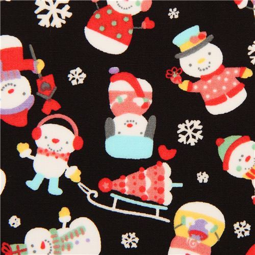 black snowman Christmas fabric by Trans-Pacific Textiles