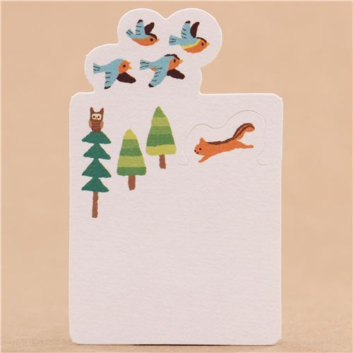 cute trees and animals foldable mini message cards from Japan