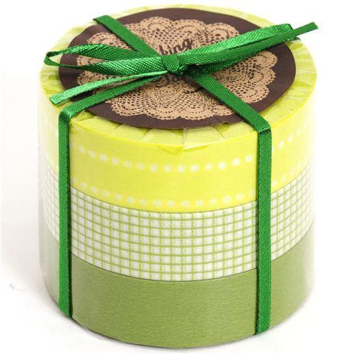 Washi Masking Deco Tape set 3pcs gingham green