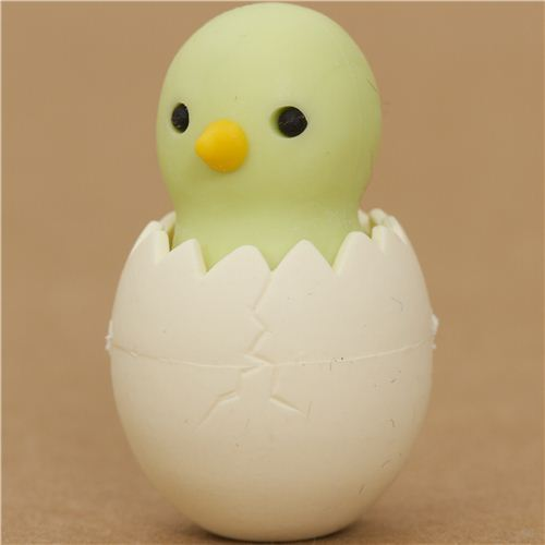 green chick in egg eraser by Iwako from Japan