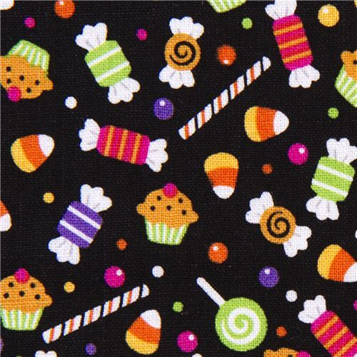 black Riley Blake Halloween fabric colourful candy