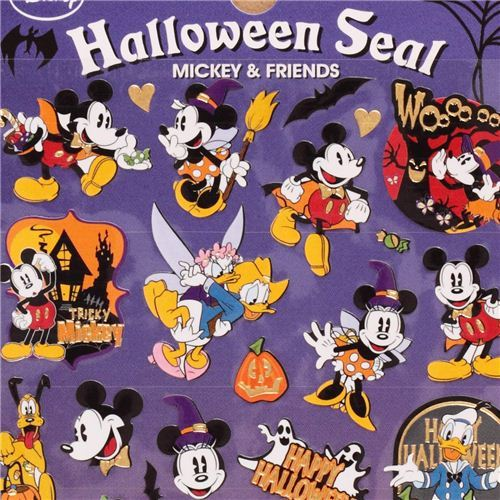 Mickey Mouse Donald Duck Halloween stickers with gold metallic by Kamio Japan