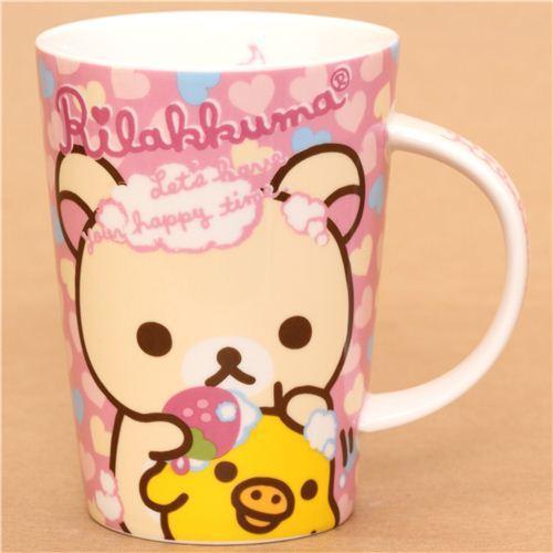 big pink Rilakkuma bear heart bathing foam cup San-X