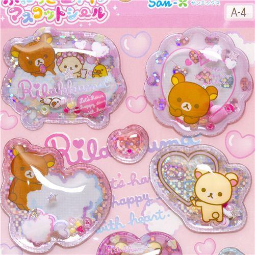 kawaii Rilakkuma bear glitter capsule stickers bathing foam