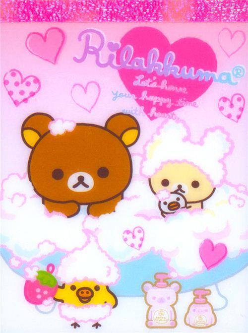 kawaii Rilakkuma bear bath tub foam mini Note Pad San-X