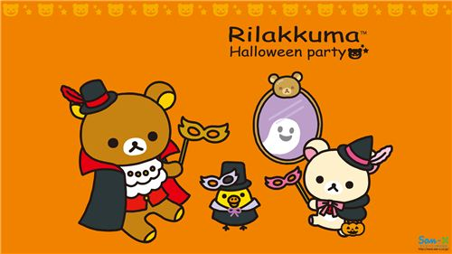 Download the cute Rilakkuma Halloween Party wallpaper for free