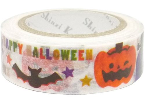 white with pumpkin bat Washi Masking Tape deco tape Shinzi Katoh