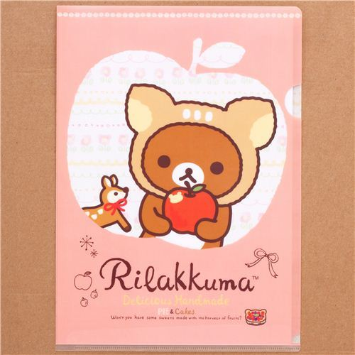 deer Rilakkuma bear apple A4 plastic file folder