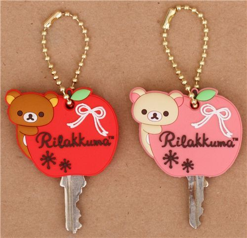 deer Rilakkuma bear apple key cover charm