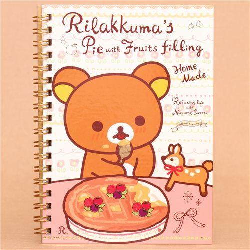deer Rilakkuma bear pie fruit ring binder notebook
