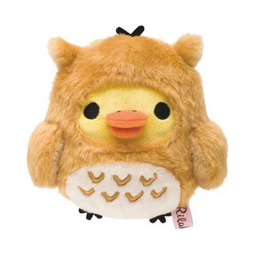 deer Rilakkuma yellow chick as owl plush toy by San-X