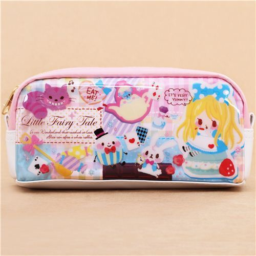 cute pink white Alice in Wonderland pencil case from Japan