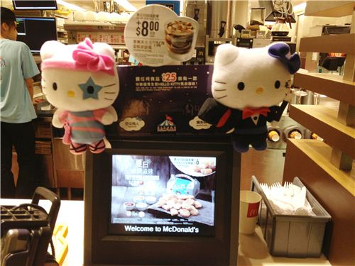 Hello Kitty as trapeze artist and magician