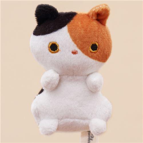 cute small white brown black cat animal plush toy