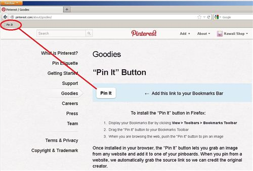 1. Add the pin button to your bookmars bar