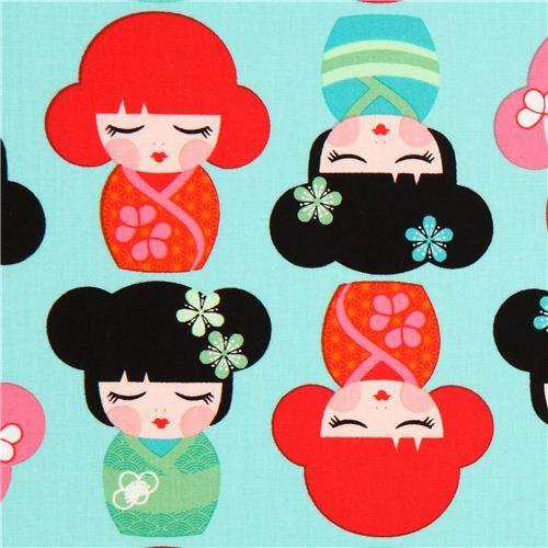 turquoise Kokeshi doll fabric by Robert Kaufman USA