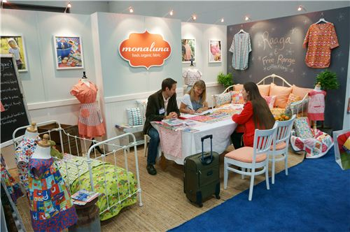 Sandra meeting with monaluna at their booth