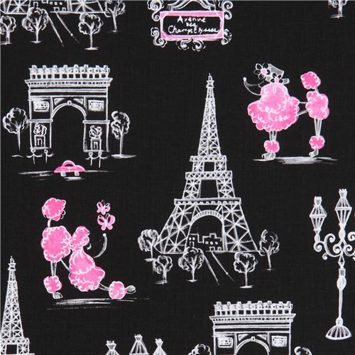black fabric white grey Eiffel Tower Paris Ink & Arrow