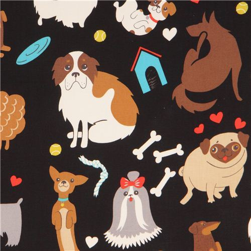 black Alexander Henry dog animal fabric