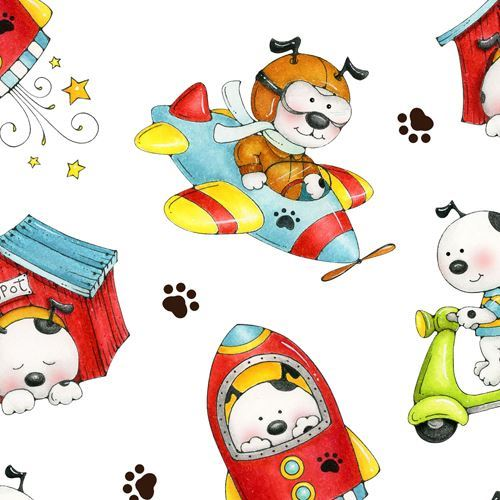 white colorful dog airplane rocket transport fabric by Henry Glass
